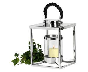 Lanterne inox et verre, Argenté et transparent - H32