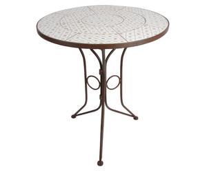 Table de jardin Métal et céramique, Marron et multicolore - H70