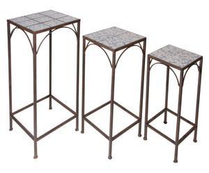 3 Tables d'appoint, fonte et céramique