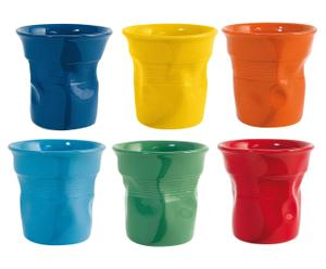 6 Tasses à expresso céramique, multicolore - 70 ml