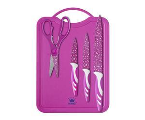 Planche à découper, 3 couteaux et 1 paire de ciseaux, inox - Rose
