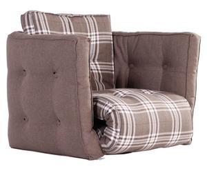 Fauteuil futon Coton, Chocolat et beige - L80