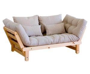 Canapé Futon à accoudoirs pin et coton, Naturel et Beige - L200