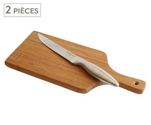 2 Couteaux et 2 Planches à découper, bambou et INOX - Naturel et Argenté