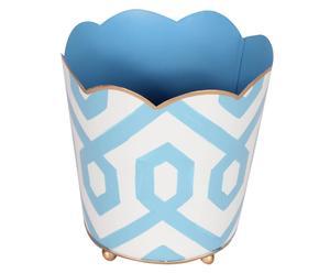 Cache-pot madison acier, bleu et blanc - Ø15
