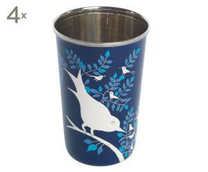 4 Mugs RUTH Email et Inox, Bleu foncé - H12