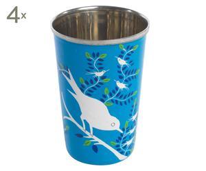 4 Mugs RUTH Email et Inox, Bleu clair - H12