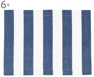 6 Napperons coton, Blanc et bleu - 45*35