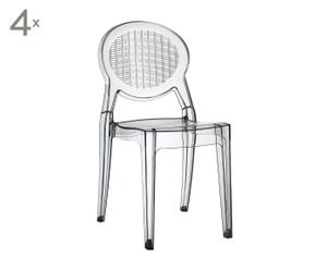 4 CHAISES EMPILABLES GIO POLYCARBONATE, TRANSPARENT - H87