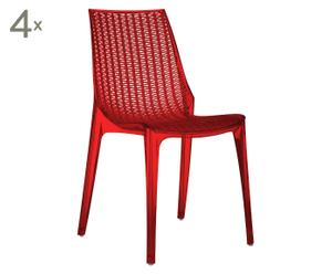 4 CHAISES EMPILABLES POLYCARBONATE, ROUGE ET TRANSPARENT - H88