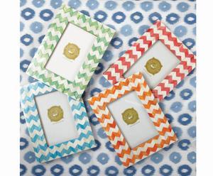 4 Cadres photos bois et porcelaine, multicolore - 22*17