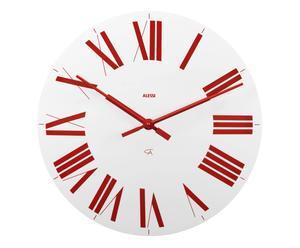Horloge murale FIRENZE, blanc et rouge - Ø36