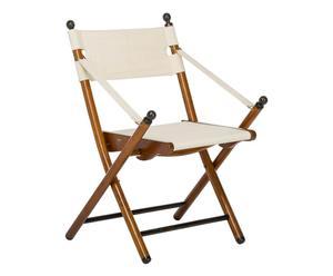 Chaise pliante CAMPING merisier et toile, naturel et crème - L56
