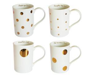 Tassen-Set Gold Spots, 4-tlg., H 11 cm