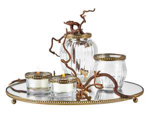 Accessoires décoratifs ADDISON, laiton et miroir – 5 pièces