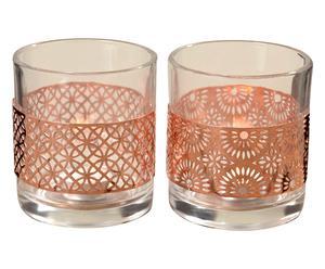 2 Photophores INDIRA verre, cuivré et transparent - H11