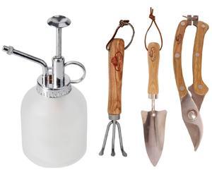 3 Outils de jardinage ROSE, bois, acier et verre - multicolore