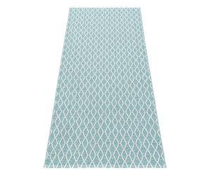 Tapis MISCHA vinyle et polyester, bleu clair et blanc - 70*150