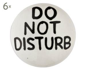 6 Boutons de porte DO NOT DISTURB porcelaine et métal, noir et blanc - Ø4