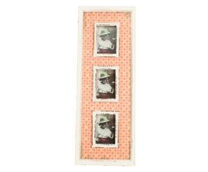 Cadre photos LAYLA bois et verre, blanc et orange - 24*62