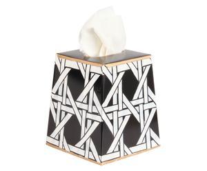 Boîte à mouchoirs CANE acier, noir et blanc - L15