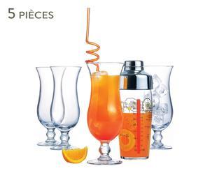Shaker et 4 verres à cocktails PORTO ALEGRE, verre - transparent