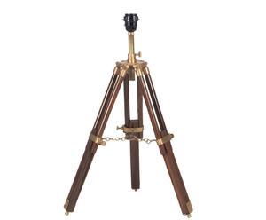 Pied de lampe trépied CONNAUGHT bois et cuivre, brun et doré - H52