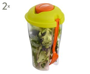 2 Shaker à salade JEANNE, vert et orange - 950mL