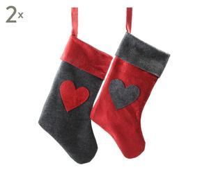 4 Chaussettes de noël HEART, rouge et gris - L43