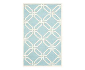Tapis MONA laine et coton, bleu clair et ivoire - 91*152