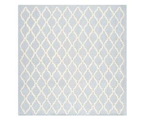 Tapis tufté KATE laine et coton, bleu clair et ivoire - 183*183