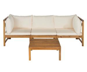 Salon de jardin bois et polyester, naturel et beige - 4 Pièces