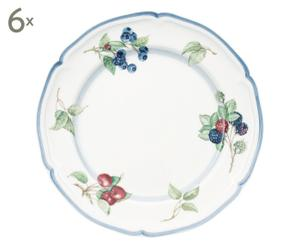 6 Grandes assiettes COTTAGE porcelaine, multicolore - Ø26