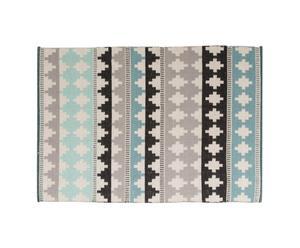 Tapis NAONI coton, bleu ciel et noir, 60 x 90 cm