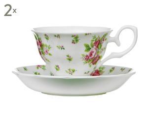 Bone China-Teetassen Rose mit Untertassen, 2 Stück, H 10 cm