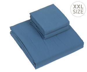 Housse de couette et 2 taies d'oreiller Satin de coton, Bleu - 220*240