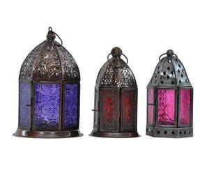 3 Lanternes ORIENTAL, métal et verre - multicolore