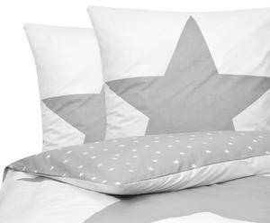 Parure de lit STAR coton, gris clair et blanc - 220*240