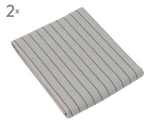2 Draps housse STRIPED flanelle de coton, gris - 140*200