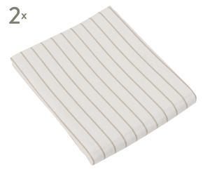 2 Draps housse STRIPED flanelle de coton, crème - 180*200