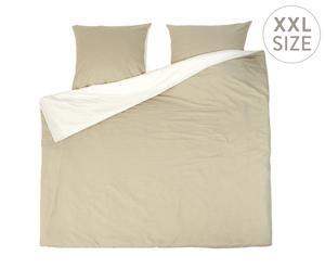 Parure de lit DUO flanelle, beige et crème - 240*220