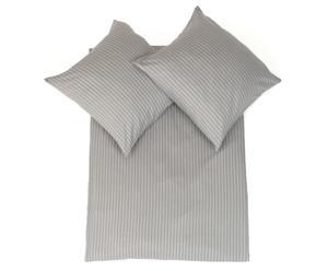 Parure de lit STRIP flanelle, gris clair et foncé - 220*200