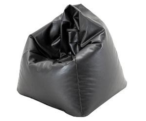 Pouf poire Cuir synthétique et billes polyester, Noir - Ø70