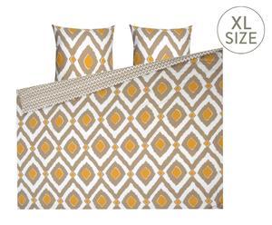 Parure de lit réversible DARIA 100% coton, jaune et marron - 200*220