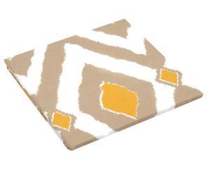 Drap housse réversible DARIA 100% coton, jaune et marron - 140*190