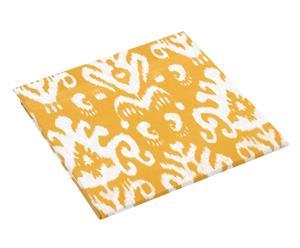 Drap housse réversible MIA 100% coton, jaune et blanc - 140*200