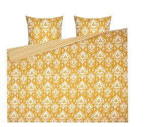 Parure de lit réversible MIA 100% coton, jaune et blanc - 240*220