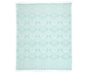 Paréo ELLA coton, blanc et menthe - 140*170