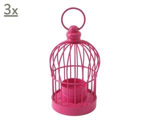 3 Lanternes Cage métal, rose - H14