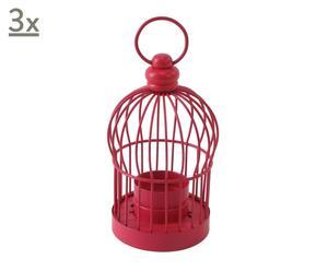 3 Lanternes Cage métal, rouge - H14
